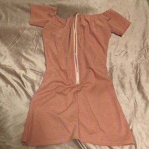 Dresses & Skirts - UK XL Baby Pink off the shoulder zipper back mini